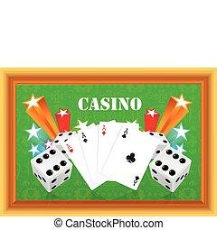 e, kasyno, ilustracja, hazard