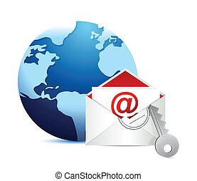 e-poczta, biały, pojęcie, tło