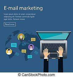 e-poczta, handel, projektować, pojęcie, płaski