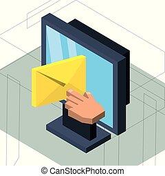 e-poczta, isometric, komputerowa wiadomość