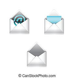 e-poczta, komplet, ikony