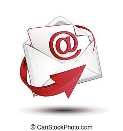 e-poczta, koperta, czerwona strzała