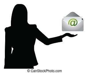 e-poczta, pokaz, kobieta handlowa