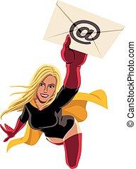 e-poczta, przelotny, superheroine