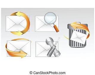 e-poczta, vectors, ikony