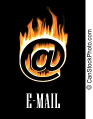 e-poczta, wchodząc, płomienie, ikona