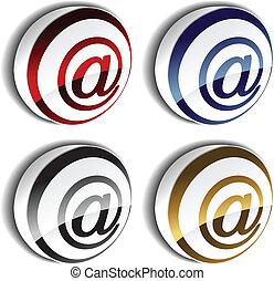e-poczta, wektor, 3d, ikony