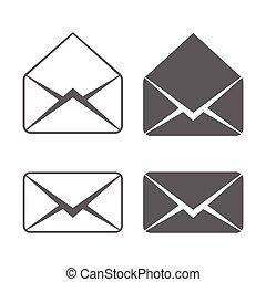 e-poczta, wektor, ikony