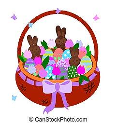 easter., butterflies., educational., purpurowy, wiklina, królik, brązowy, jaja, barwny, obiekt, ilustracja, czekolada, kosz, karta, gratulacje, hares., tulipany, polować, łuk, wektor, bilety, jajko