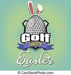 easter., jajko, piłka, kształt, szczęśliwy, golf