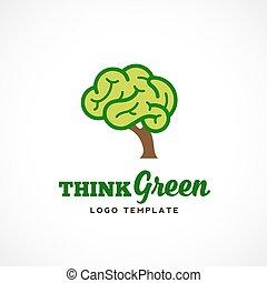 eco, abstrakcyjny, drzewo, ilustracja, myśleć, typography., mózg, wektor, zielony, logo, template.