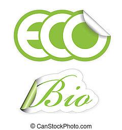 eco, bio, etykiety, komplet