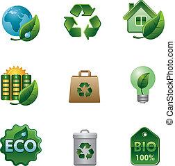 eco, bio, komplet, ikona