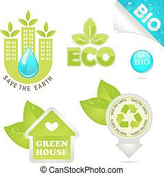 eco, bio, komplet, ikony