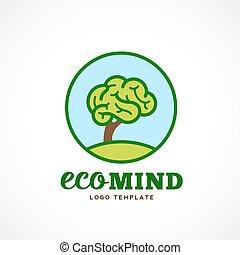 eco, drzewo, abstrakcyjny, pamięć, ilustracja, typography., mózg, wektor, logo, template.