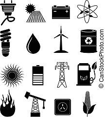 eco, energia, komplet, ikony