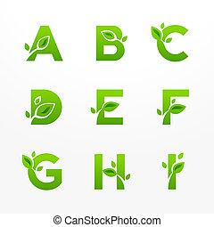 eco, fon, beletrystyka, logo, komplet, wektor, zielony, ekologiczny, leaves.