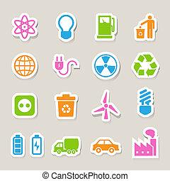 eco, ikony, set., energia