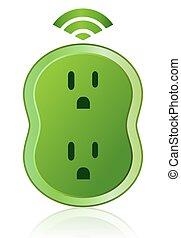 eco, mądry, wylot, ikona, moc zieleni
