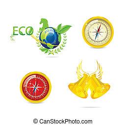 eco, symbolika, abstrakcyjny, komplet, podróż
