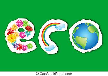 eco, tęcza, kula, kwiat, tekst