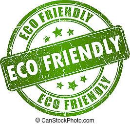 eco, tłoczyć, wektor, przyjacielski
