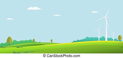 eco, wiatr niebo, summer., turbina, krajobraz, wektor, zielony, scena, tło., pole, illustration., natura