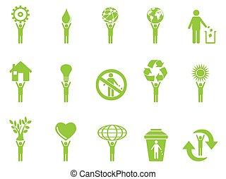 eco, zielony, figury, wtykać, ikony