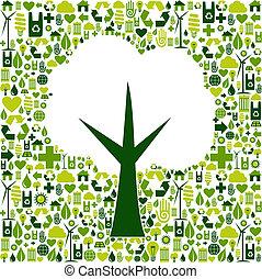 eco, zielony, symbol, drzewo, ikony