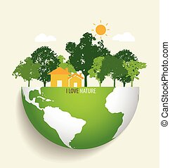 eco, zielony, wektor, earth., illustration.