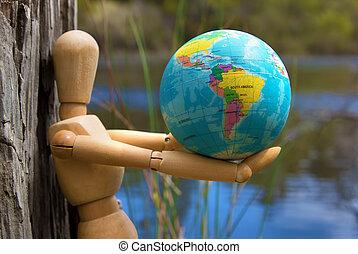 eearth, środowisko, lalka, ochrona, pojęcie, drewniany, dziewiczość, kula, siła robocza
