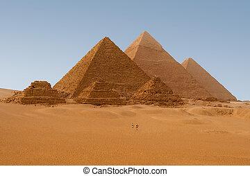egipcjanin, giza, egipt, piramidy, prospekt, sześć, panaromic