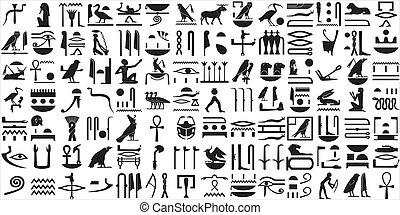 egipcjanin, hieroglyphs, 1, starożytny, komplet