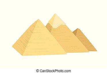 egipt, ilustracja, piramidy