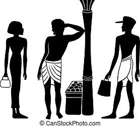 egyptian-greek, starożytny, sylwetka