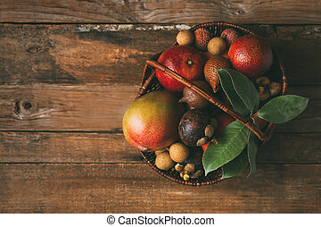 egzotyczny, basket., owoc