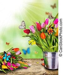 egzotyczny, tulipany, motyle, kwiaty, barwny
