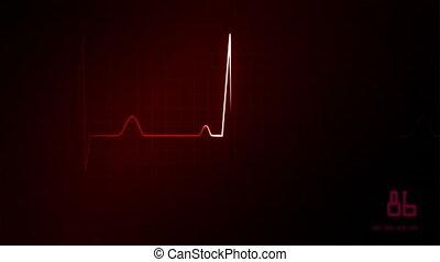 ekg, hydromonitor serca, czerwony
