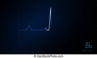 ekg, serce, błękitny, hydromonitor