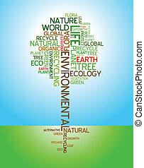 ekologia, środowiskowy, -, afisz