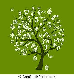 ekologia, drzewo, pojęcie, zielony, projektować, twój