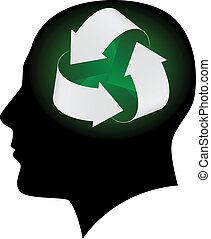 ekologia, głowa, ludzki, symbol