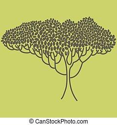 ekologia, illustration., abstrakcyjny, drzewo, theme., stylizowany, ogród