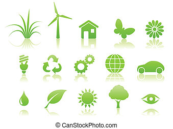 ekologia, komplet, ikona