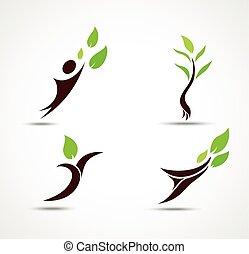 ekologia, komplet, ludzki, ikona