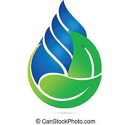 ekologia, kropla, woda, zielony, liście, logo