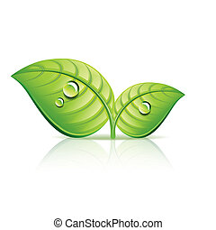 ekologia, liście, ilustracja, wektor, zielony, ikona