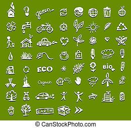 ekologia, projektować, twój, ikony