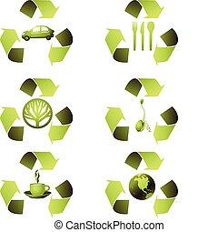 ekologiczny, komplet, ikona