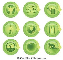 ekologiczny, komplet, połyskujący, strzała ikona